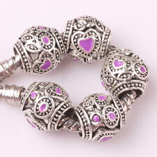 5pcs Tibetan silver love lampwork spacer beads fit Charm European Bracelet #D144
