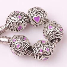 5pcs Tibetan silver love lampwork spacer beads fit Charm European Bracelet #D144