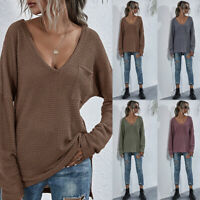 Women's Long Sleeve Knitted Sweater Ladies Casual Loose V Neck Pullover Jumper