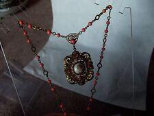 Vintage/Antique Necklace Porcelain Cameo woman faux pink cora bead enamel czech