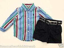 Ralph Lauren Baby Boy 2pc Set-Ls Shirt & Navy Shorts avec ceinture 6/9M (74 cm) Bnwt