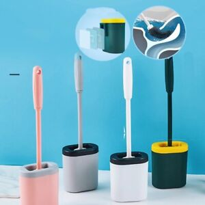 Silicone Toilet Cleaner Brush Flat Head Flexible Soft Bristles Cleaning Brush WC