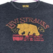 Levi's Strauss Bear Mens Long Sleeve Thermal T Shirt Small S Multicolor Spellout