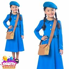 1940s Wartime School Girl Costume Kids Fancy Dress Book Day