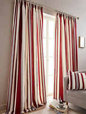 """Hampton Vertical Printed Stripe 3"""" Lined Curtains - Blue Green Grey Heather Red"""