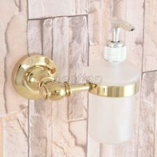 Gold Polished Brass Kitchen Bathroom Wall Mounted Soap Dispensers Holder sba307