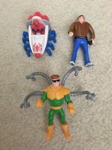 1995 Spider-Man Toy Figures Lot Peter Parker Dr Octopus McDonald's Happy Meal