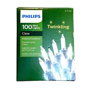 Philips 100 Mini Clear Twinkling Christmas Holiday Lights for Indoor & Outdoor