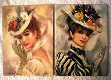Lot of 2 Victorian Ladies Women - Canvas Style Lithographs Vintage 60's Prints