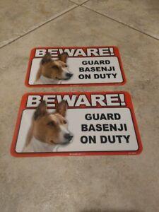 BEWARE Guard Dog on Duty Sign - Basenji Plastic Sign Lot of 2