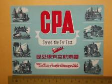 "Hong Kong 1950's ""Cathay Pacific Airways Ltd."" Luggage Label Rare"