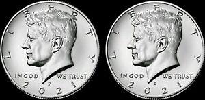 "✅2021 P&D Kennedy Half Dollar Clad US Mint ""Brilliant Uncirculated"" 2 Coin Set"