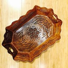 Wooden Tray for Snacks Tea Dry Fruits Bread Brass Inlay Mugal Jaali Handcrafted