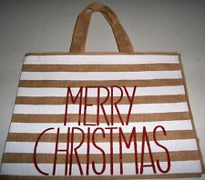 "CHRISTMAS Reusable Tote Bag MERRY CHRISTMAS 17"" x 13""  BURLAP"
