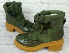 Kendall + Kylie Riley Bootie Size 7 Military Style Army Green Platform Boots NEW