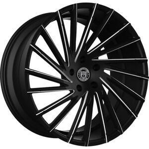 """(4) 22"""" Staggered Lexani Wheels Wraith Black W CNC Accents Rims (B42)"""