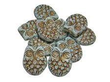 18x15mm Bronze Washed Opaque Baby Blue Czech Glass Owl Beads (4) #5209