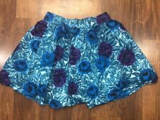 Twenty One Sz XS Juniors Blue Purple Floral Mini Skirt Lined Back Zip Summer