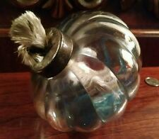 Old Whale Oil Lamp Font Thick Swirling Moulded Glass Buggy Lantern Bowl BlueFilm