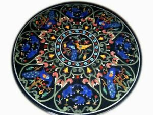 """36"""" Marble Dining Table Top Inlay Rare Stones Round Center Coffee Table AR0911"""