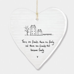 East of India Wobbly White Porcelain Heart Friends Become Family Gift 10x9cm