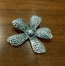 Silver Oxidized Flower Pendant Silpada S1101 Hammered Sterling