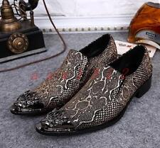 Hot Mens Leather Loafers Pointy Shoes Slip On Dress Metal Pointed Toe Weddings