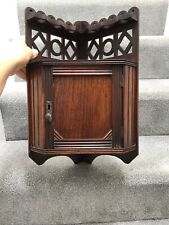 Vintage Wooden Corner Cupboard Cabinet Shelf Hanging Smokers Oak Pipe Rack