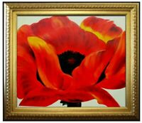 Framed Quality Hand Painted Oil Painting, Red Poppy, 20x24in