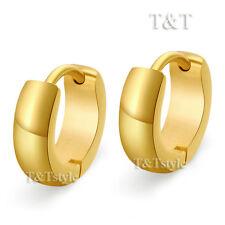 TRENDY T&T Plain 14K GP Gold Stainless Steel Hoop Earrings (EG24)