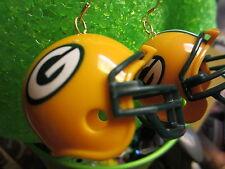 NORA WINN UNIQUE BIG  EARRINGS 925 NFL FOOTBALL  HELMET GREEN BAY PACKERS