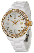 NEW ToyWatch PCLS25PG Crystal Gold Tone Bezel White Band  Watch $295 GREAT GIFT