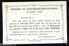 carton d'invitation au bal des conscrits . 1926 . SAINT-BERAIN-SOUS-SANVIGNES ..