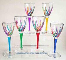 "GLASSWARE - ""VENETIAN CARNEVALE"" CORDIAL GLASS SET OF SIX - HAND PAINTED CRYSTAL"
