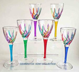 "GLASSWARE - ""VENETIAN CARNEVALE"" CORDIAL GLASSES - SET OF SIX - LIQUEUR GLASSES"