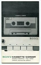 "Vintage ""SONY"" Owners Manual: ""Cassette-Corder Sony-Matic TC-100"""