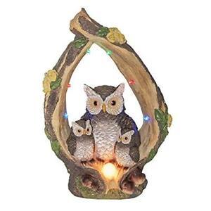 Globrite Solar Owl Light Family Tree Log Figurine Resin Statue Ornament Outdoor