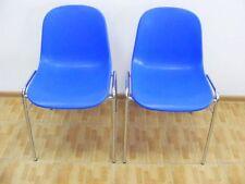 2x blaue Schalenstühle Besucherstuhl Konferenzstuhl Bürostuhl Stuhl Plastikstuhl