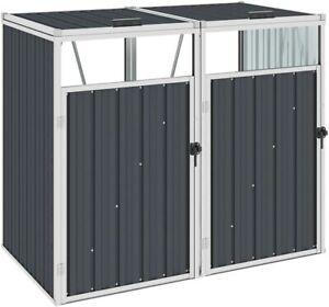 vidaXL Outdoor Double Bin Shed Waste Hider Box 143cm W x 81cm D x 121cm H Steel