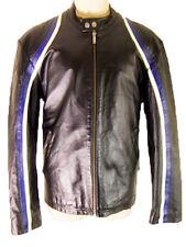 BIKER racing stripe jacket LEATHER blue white black vintage flag bdsm bondage L