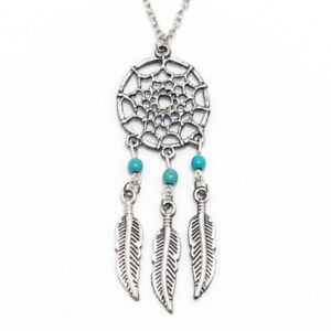 """Dream Catcher Silver Pendant Necklace Feathers Turquoise Beads 20"""" Chain"""