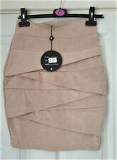 CAPSULE Camel Soft Touch Zip Back Elastic  Waist Pleat Skirt Size UK 8 BNWT