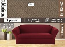 2 pcs Stretch Slipcovers Set, Couch/ Sofa And Loveseat Cover (Taupe)