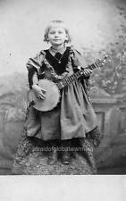 Photo pre 1920 Child Playing Banjo New England
