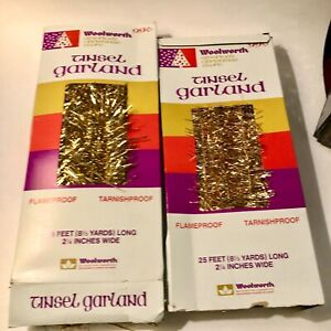 """Woolworth Tinsel Garland Christmas Decor 2.25"""" x 25 ft Gold Lot of 2 Vintage"""