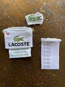 Lacoste Patch Logo And Sewing Replacement Tag Used