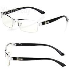 WB Mens Women Clear Lens Half Frame Eye Glasses Designer Fashion Silver Small RX