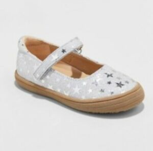 New Cat & Jack Annabelle Glitter Metallic Mary Jane Silver Girls Toddler Size 4