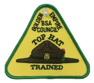 BSA ~ Top Hat Trained Patch ~ Golden Empire BSA Council - Boy Scouts of America