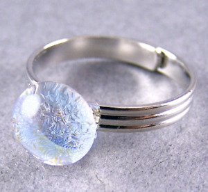 "Dichroic Glass Ring Adjustable Sky Blue Clear Teal 1/4"" 8mm Metallic Moonstone"